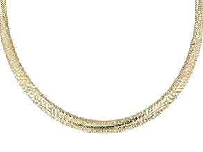 10k Yellow Gold Graduated Mesh Omega 18 inch Necklace