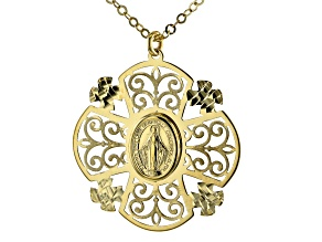 10K YELLOW GOLD HOLY MARY FILIGREE 18 INCH NECKLACE