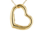 10k Yellow Gold Polished Heart Pendant with 18 inch Chain Necklace