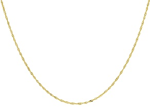 10k Yellow Gold Singapore 22 inch Sliding Adjustable Chain Necklace