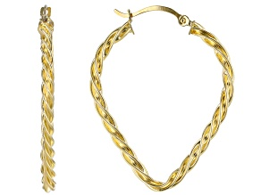 10k Yellow Gold Twisted Polished Tube Hoop Earrings