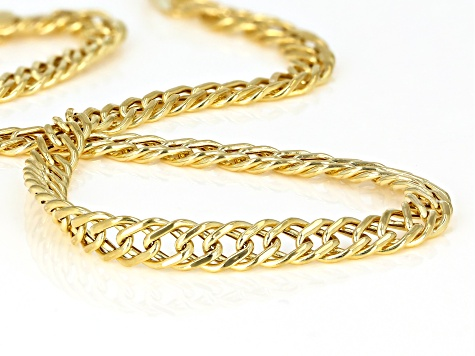 10K Yellow Gold Double Curb Bracelet 8 Inch