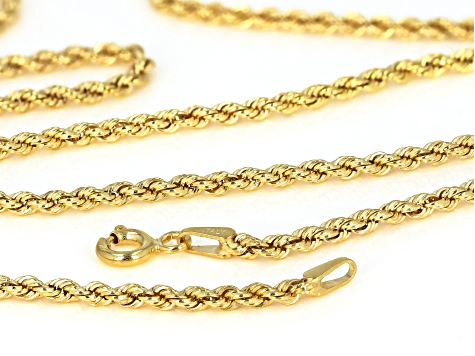 10K Yellow Gold Rope Chain Necklace 20 Inch