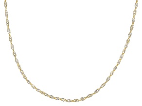 10K Two-Tone Singapore Chain Necklace 18 Inch