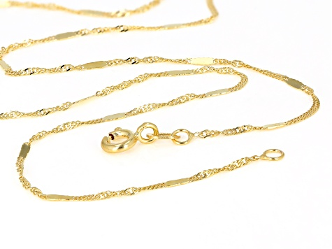 10K Yellow Gold Twisted Curb Bar Chain Necklace 18 Inch