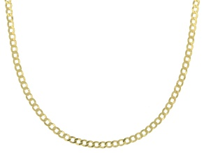 10K Yellow Gold 1.9MM Diamond Cut Concave Curb Chain Necklace 18 Inch