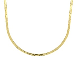 10K Yellow Gold 1MM Herringbone Necklace 18 Inch