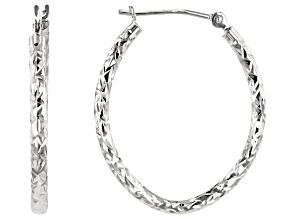 10K White Gold 19MM Polished & Diamond Cut Oval Tube Hoop Earrings