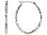 10K White Gold 19MM Polished & Diamond Cut Oval Tube Hoop Earrings