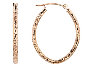 10K Rose Gold 19MM Polished & Diamond Cut Oval Tube Hoop Earrings