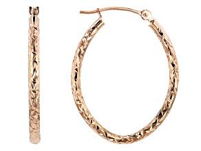 10K ROSE GOLD 19MM POLISHED & DIAMOND CUT OVAL TUBE HOOP EARRINGS