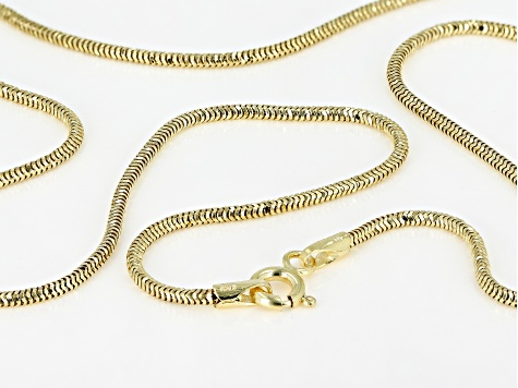 10K Yellow Gold 1.4MM Diamond Cut Snake Chain Necklace 18 Inch