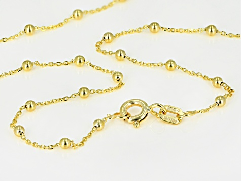 10K Yellow Gold .5MM Cable Chain With Bead Station Necklace 20 Inch
