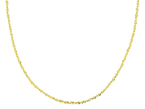 10K Yellow Gold .6MM Flat Twisted Cable Chain Necklace 18 Inch