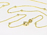 10K Yellow Gold .5MM Bead Station Cable Chain Necklace 18 Inch