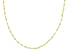 10K Yellow Gold .3MM Twisted Valentino Chain Necklace 18 Inch