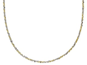 10K Yellow Gold & Rhodium Over Gold Two-Tone Criss Cross Chain Necklace 18 Inch