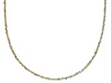 10K Yellow Gold & Rhodium Over Gold Two-Tone Criss Cross Chain Necklace 20 Inch