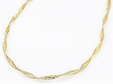 10K Yellow Gold 1MM Ribbon Omega Necklace 18 Inch