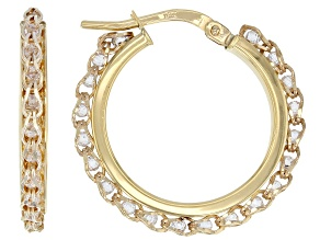 10K Yellow Gold 17MM Round Crystal Hoop Earrings