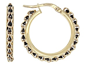 10K Yellow Gold 17MM Round Black Crystal Hoop Earrings