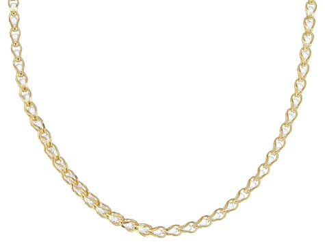 10K Yellow Gold 1.7MM Round White Crystal Cage Link Chain Necklace 20 Inch