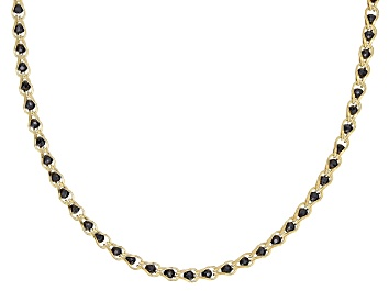 Picture of 10K Yellow Gold 1.7MM Round Black Crystal Cage Link Chain Necklace 20 Inch