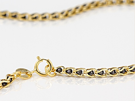 10K Yellow Gold 1.7MM Round Black Crystal Cage Link Chain Necklace 20 Inch