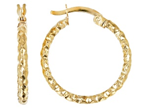 10K Yellow Gold 16MM Diamond Cut Hammered Tube Hoop Earrings