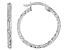 10K White Gold 16MM Diamond Cut Hammered Tube Hoop Earrings