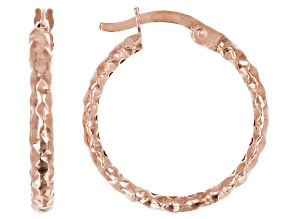 10K Rose Gold 16MM Diamond Cut Hammered Tube Hoop Earrings
