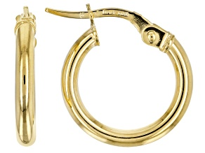 10 KT YELLOW GOLD 10.5 MM TUBE HOOP EARRINGS