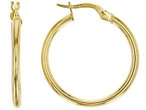 10K YELLOW GOLD 20MM TUBE HOOP EARRINGS