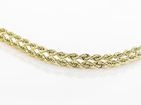 10K Yellow Gold 2 Row Left/Right Rope Bracelet 7.25 Inch