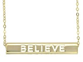 "14K Yellow Gold ""Inspiration"" Bar With Flat Rolo Chain Necklace 18 Inch"