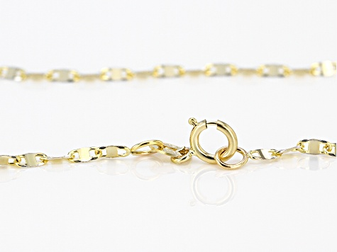 10K Yellow Gold .3MM Mariner Link Pave Chain Necklace 18 Inch
