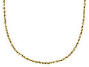 10K Yellow Gold Diamond Cut Grande Rope Chain Necklace 18 Inch