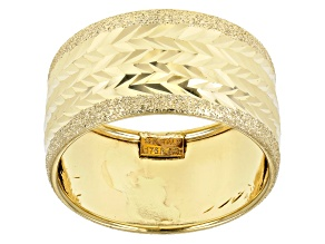 10K Yellow Gold Wide Diamond Cut Textured Ring