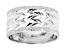 10K White Gold Wide Diamond Cut Textured Ring