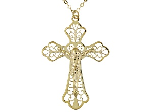 10K Yellow Gold filigree Crucifix Pendant With Flat Rolo Chain Necklace 18 Inch