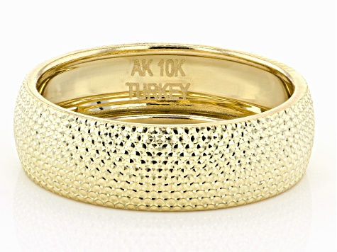 10K Yellow Gold Diamond Cut Wide Band Ring