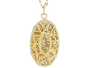 10K Yellow Gold Flat 18 Inch Rolo Chain With Laser Cut Pendant