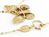10K Yellow Gold 18 Inch Flat Rolo Chain Necklace With Laser Cut Butterfly Pendant