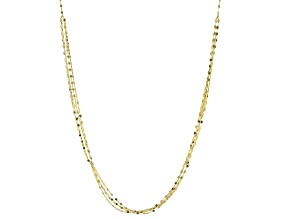 10k Yellow Gold 1.6mm Multi-Strand Mirror Link 24 inch Chain Necklace