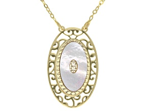 10K Yellow Gold Flat Rolo 20 Inch Chain Necklace With Mother Of Pearl Pendant