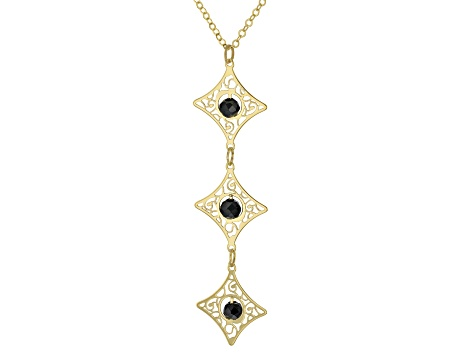 10K Yellow Gold 18 Inch Flat Rolo Chain Necklace With Black Diamond Simulant Laser Cut Pendant