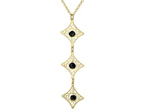 10K Yellow Gold 18 Inch Flat Rolo Chain Necklace With Black Diamond Simulant Lazer Cut Pendant