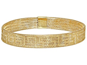 10K Yellow Gold 8.0mm Greek Key Mesh Stretch Bracelet