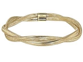 10K Yellow Gold 6.5mm Twisted Stretch Mesh Bracelet
