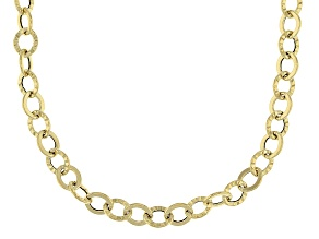 10K Yellow Gold 3.2mm Oval Rolo Diamond Cut Chain Necklace 24 Inch